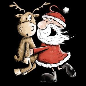 Weihnachtsmann Mit Rentier I Weihnachten Geschenk