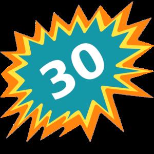 30 bunt, 30. GB, feiern 30, Geschenk 30