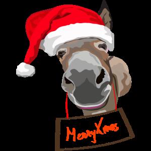 Weihnachten Esel mit Mütze