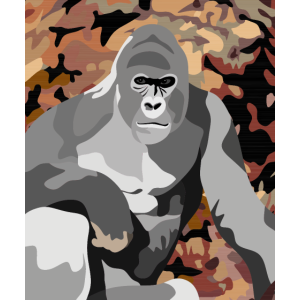 Gorilla in front of Woodcock camouflage