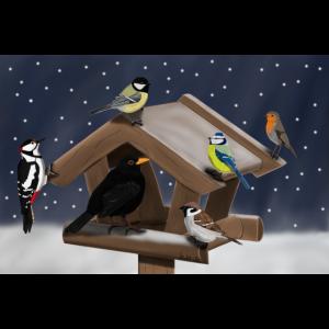 Vogelmotiv Vögel sitzen im Schnee am Futterhaus