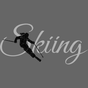 Skiing Skifahrerin (Grau) Wintersport Apres-Ski