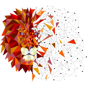 Geometric Lion - Retro, Christmas, Gift Ideas