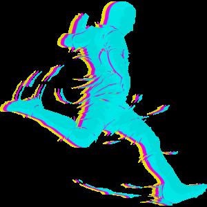 Fußballspieler Retro 80s 90s Neon Fußball schießen