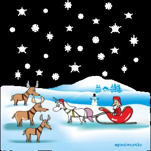 Einhorn, Rentiere und Santa