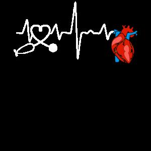 Herzschlag EKG Puls Kardiologe Arzt Geschenk Shirt