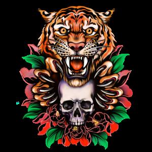Tiger und Schädel, einzigartiges Design
