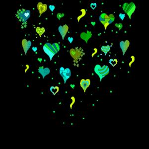 Herzen auf Stiel grüne Herzen herzlichen Dank