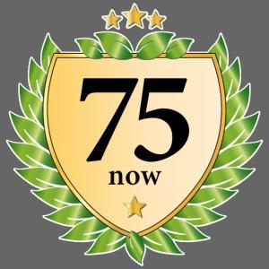 75. Geburtstag Wappen Lorbeerkranz goldene Sterne