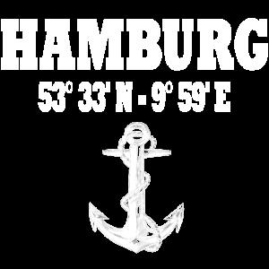 Hamburg Koordinaten Anker Stadt Shirt