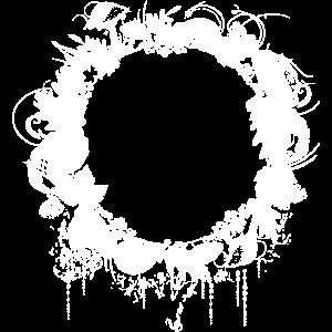Weißer Floraler Waldboden Rahmen mit Pilze