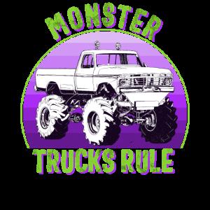 Monster Truck Regel Vintage Sonnenuntergang Geburtstag Kinder