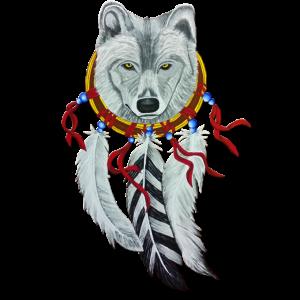 Traumfaenger mit Wolfskopf, handgemalt