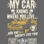 Horror Film Fan T Shirt My Car Knows