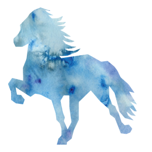 Islandpferd Watercolor blue