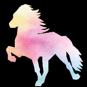 Islandpferd Watercolor rainbow