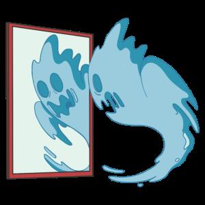 Lustiges Gespenst erschrickt vor Spiegelbild