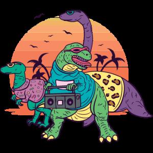Dinosaur Dino Trex 80s Retro Vintage Illustration