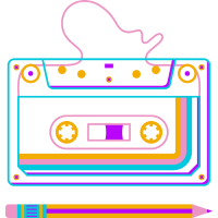 Retro Tape Cassette, 80s Eighties, Rewind Pen