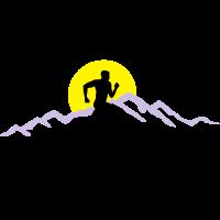 Laufen, Läufer und Berge mit Sonne