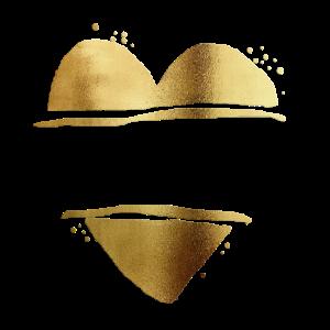 Personalisierbar Herz Gold