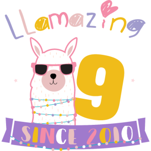 Girls 9th Birthday LLamazing Since 2010