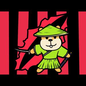 Hamster Asien Kaempfer Samurai Fantasy