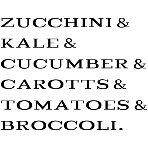 zucchini kale cucumber carotts tomatoes broccoli