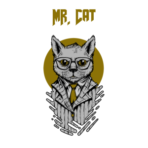 Mr. Cat in Suit with Glasses