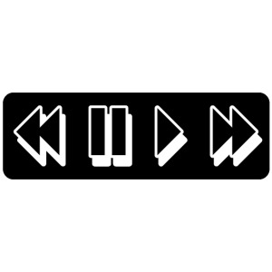 Rewind. Pause. Play. Fast Forward black/white⏪⏸▶️⏩