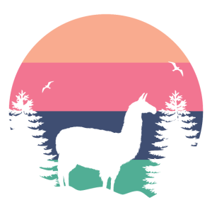 Lustiger Lama Sonnenuntergang Vintage Lama Alpaka