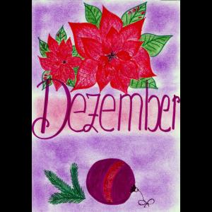 Dezember mit Weihnachtsstern und Kugel.