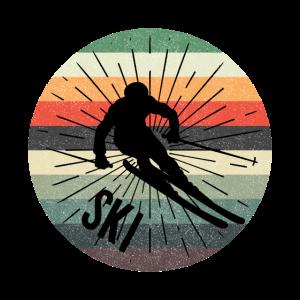 Ski Retro Skifahren Berg Winter Geschenk Tee