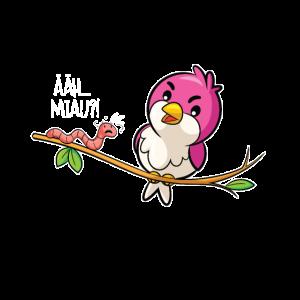 Lustiger Vogel und Wurm Spruch Witz Ähh Miau