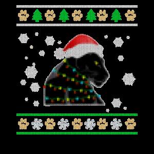Weihnachtlicher Panther mit Lichterkette