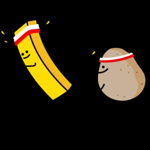 Pommes und Kartoffel rennen