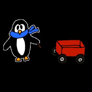 Pinguin mit Bollerwagen