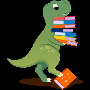 Dinosaur With Books