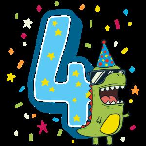 Vierter Geburtstag 4. Feier Dino T-Rex Vier Jahre