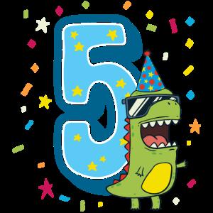Fünfter Geburtstag 5. Feier Dino T-Rex Fünf Jahre