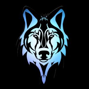 Wolfskopf Konturen Mosaik Farbverlauf