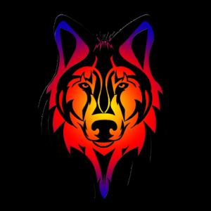 Wolfskopf schwarze Kontur auf buntem Hintergrund