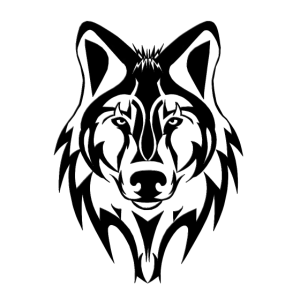 Wolfskopf Kontur schwarz weiss