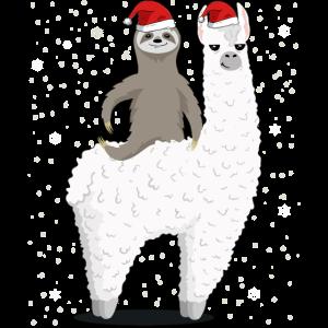 Santa Sloth Riding Llama Reindeer Christmas