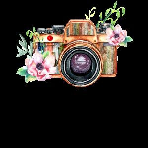 Fotografie-Maschine und Blumen