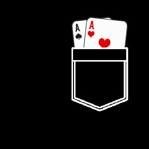 Zwei Asse Brusttasche Zauberer Kostüm Ace Poker