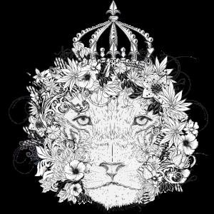 majestätisch geschmückter Löwe mit Blumen & Krone