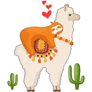 Faultier Reiten Lama
