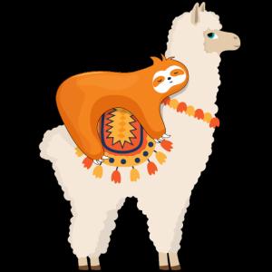 Faultier Reiten Lama lustig