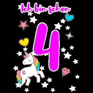 4. Geburtstag 4 Jahre alt Mädchen Geschenk